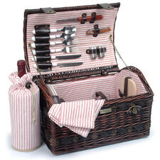 Wicker Picnic Basket Set For 2  The Couture Collection  20 pcs. w Wine Bag
