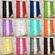 2 Piece Sheer Voile Window Panel Curtain Treatment Drapes in 30 Different Colors