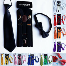 Kids Boys Baby Candy Color Clip-on Y-Back Braces Suspenders + Bow Tie + NeckTie