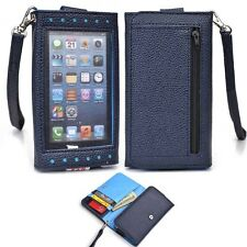 Navy Blue Universal Smartphone Wristlet Wallet Case Clear Cover for LG