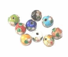25 COLOURED ROUND CLOISONNE FLOWER JEWELLERY CRAFT BEADS - 6mm 8mm 10mm - UK