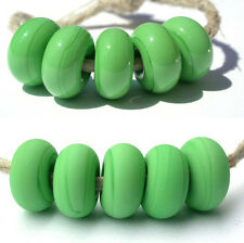 5 NILE GREEN * donut handmade lampwork glass spacer beads TANERES sra