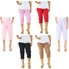 3/4 LENGTH WOMENS LADIES STRETCH ELASTICATED WAIST PLAIN PANTS CROPPED TROUSERS