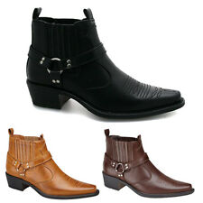 Mens Western Ankle Boots in Faux Leather Premium Quality 3 Colours All Sizes