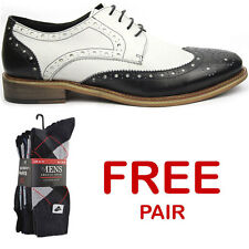 Justin Reece Brogues Black White Men's Lace Up Shoes Premium Leather UK 7 - 12