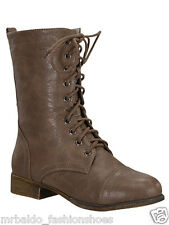 PRIORITY MAIL FAST SHIPPING!! Lady fashion combat biker lace up boot