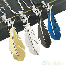 Hot Mens Stainless Steel Silver Green Black Feather Chain Pendant Necklace B37U
