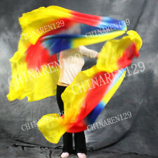 SEMICIRCLE HALF CIRCLE BELLY DANCE 100% SILK VEIL COLOR yellow blue red yellow
