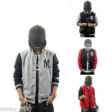 New Mens Hop Hop NY Jacket Varsity Letterman College Baseball Cotton HipHop Rap