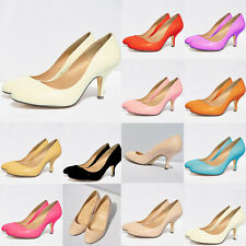WOMENS Patent  LOW MID HEEL PUMPS CONCEALED PLATFORM WORK COURT SHOES UK  2-9