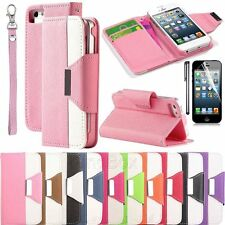 PU Leather Magnet Wallet Creadit Card Holder Flip Case Cover for iPhone 5 5G 5S