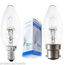 12 x POWERSAVE ENERGY SAVING CANDLE HALOGEN DIMMABLE BC B22 & SES SCREW CAP LAMP