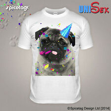 Happy Birthday T-shirt Pug Tshirt Celebration Top Funny Bday Party Puppy Pugs A