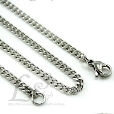 """20""""-24"""" Cuban Curb Silver Tone Men's Stainless Steel Link Chain Necklace Cool C2"""