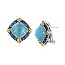 18K Yellow Gold and Sterling Silver Blue Topaz Earrings with Blue Sapphires