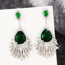 18K White Gold GP Made With Swarovski Crystal Teardrop French Clip Earrings