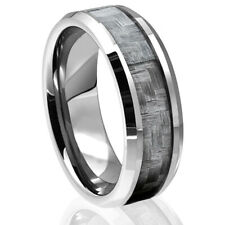 Tungsten Carbide Black Carbon Fiber Ring Silver Mens Engagement Wedding Band NEW