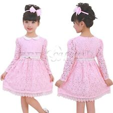 Kids Toddler Girls Princess Wedding Flower Party Pink Lace Formal Dress Clothing