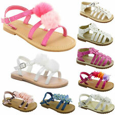GIRLS CHILDREN FLOWER SUMMER BEACH FLAT SANDALS PARTY RUFFLED PEEP TOE SHOE SIZE