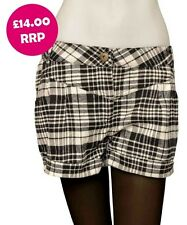 Sexy Ladies Women Black White Check Tartan Dogtooth Beach Hot Pants Shorts  6-20