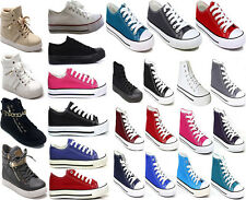 WOMENS FLAT CANVAS SHOES LADIES HI TOP HIGH ANKLE PUMPS GIRLS PLIMSOLLS TRAINERS