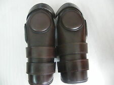 3 Strap Velcro Polo Knee Guards - Leather and Padded/