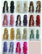 """32"""" 80cm Long Wavy Hair Heat Resistant Spiral Curly Cosplay Wig 11 Colors"""