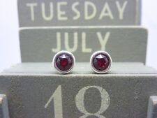 Silver Birthstone Earrings - Sterling July Ruby Red Made with Swarovski Crystal