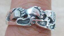 NEW 925 STERLING SILVER Plain Foot prints steps lovers committment ring L M P R