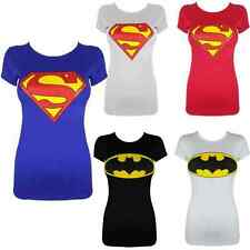 LADIES/WOMENS/GIRL SUPERMAN,BATMAN LOGO PRINTED CROP TOP T-SHIRT VEST S/M,M/L UN