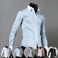 Mens Fashion Premium Long Sleeve Slim Fitted Leisure Tops Dress Shirts In 5color