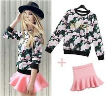 HOT spring Women Rose print floral T-shirt top sweat bodycon Ruffle skirt suit