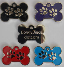 Engraved Pet ID Tags DOG Bone & Paw 34mm Extra LARGE Disc Free Post & Engraving