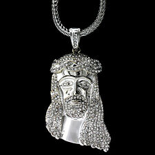 """MENS ICED OUT HIP HOP 14K GOLD FINISH JESUS PIECE PENDANT W/36"""" FRANCO CHAIN"""