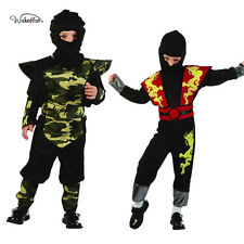 Boys Toddler Ninja Ranger Fancy Dress Camouflage Black Chinese Dragon Suit 2-4yr