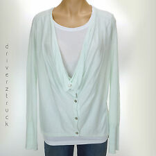 SIMPLY VERA WANG New! Drape Cowl SPA BLUE Cardigan SWEATER Lightweight GREEN S M
