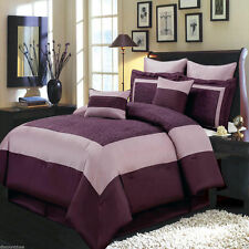 8pc Luxury Comforter Set Wendy Purple Bedding Set with Pillows and Shams