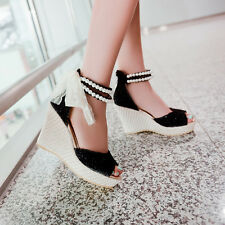 Women Rosary Lace Flowers Strap Cross Ankle Platforms Wedges Sweet Sandals Shoe