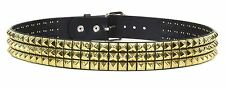 Studded Three Row Gold Stud Leather Belt Punk, Metal,Thrash, UK Style, Rock