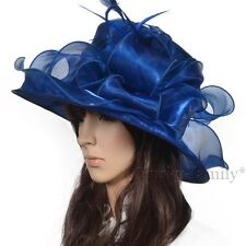 Kentucky wedding church dress derby satin Hat wide brim organza floral hat