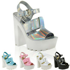 LADIES WOMENS CUT OUT CHUNKY SANDALS HIGH HEEL PLATFORM SUMMER WEDGES SHOES SIZE