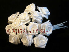 15mm Ribbon Rose on Wire Stem, Wedding. Cake Craft, Arts and Crafts