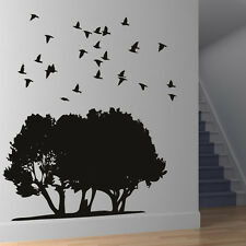 Flock Of Birds Over Tress Wall Stickers Nature Wall Decal Art