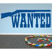 Rifle And Wanted Sign Wall Sticker Cowboy Wall Decal Art