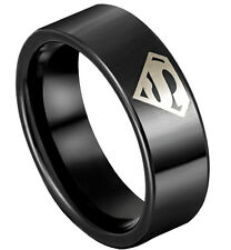 Superman 8mm Tungsten Steel Ring Black Silver Wedding Band Birthday Gift Men's