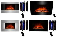 Wall Mounted Electric 3D Flame Log Fireplace Control Remote Heater Adjustable