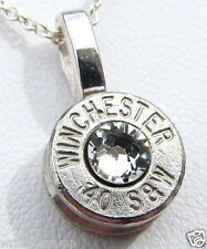 40 S&W WINCHESTER Necklace Pendant CHOICE Swarovski Crystal Bullet Silver Nickel