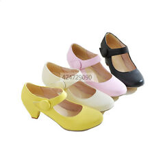 Womens Mid Kitten Heels Ankle Strap Pumps Miss Causal Shoes Loafers YD353