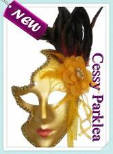 Venetian Gold Silver Face Cut Out Women New Masquerade Mask w/Feather