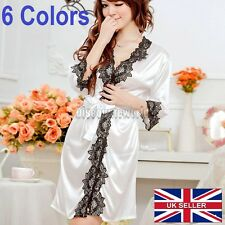 LADIES Sexy Satin FLORAL LACE Gown Bath Robe Nightwear Dress Babydoll Lingerie